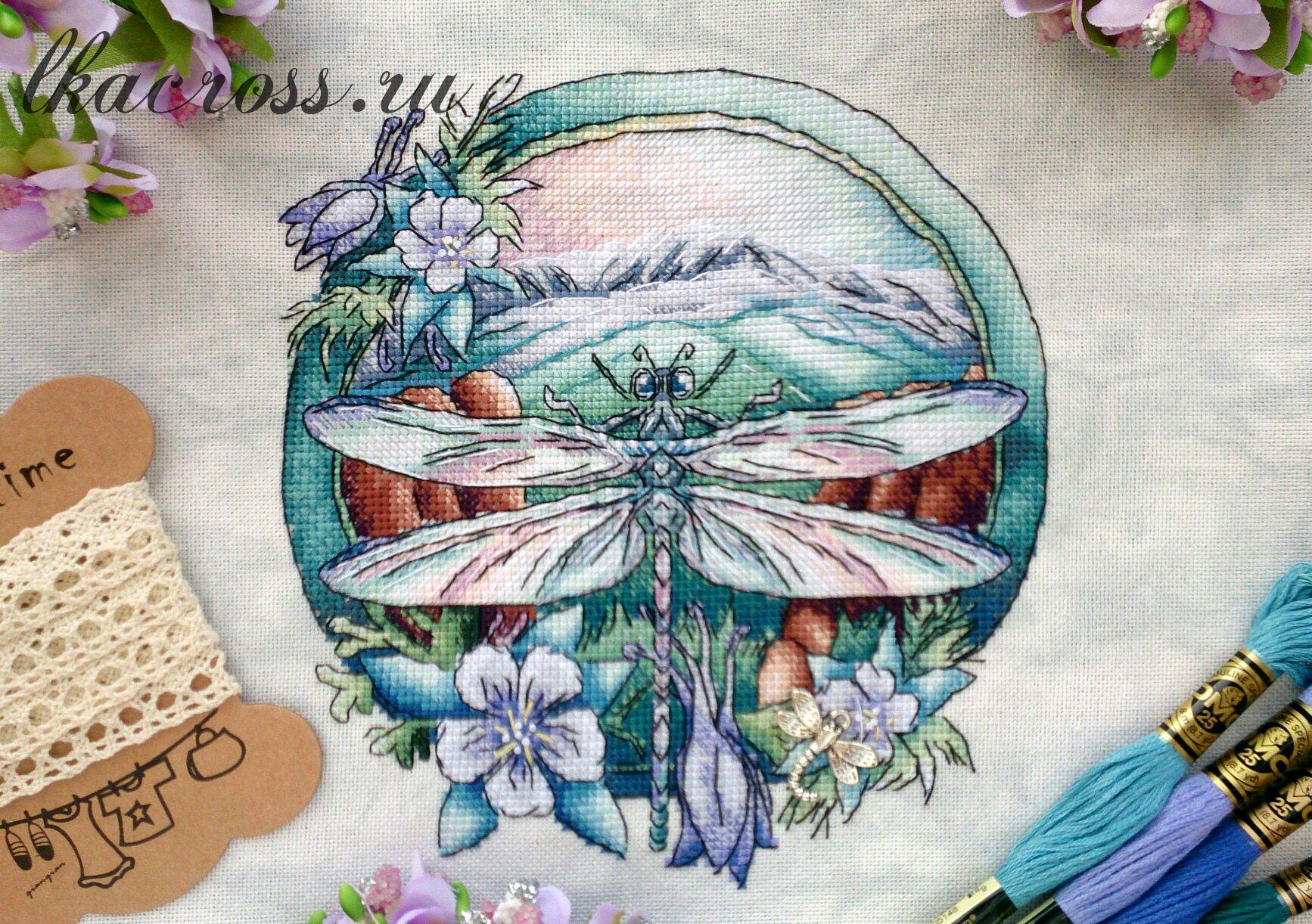 Схема для вышивания крестиком Стрекоза. Отшив.