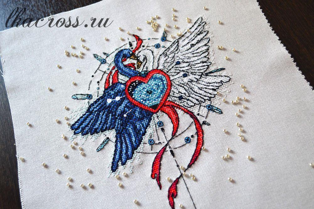 Схема для вышивания крестиком Лебеди. Отшив.