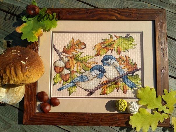 Схема для вышивания крестом Трудолюбивые птички. Отшив.