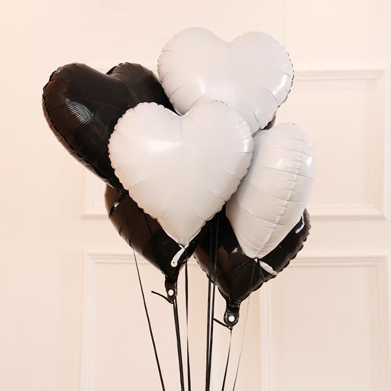 шарики сердца тиффани, черные сердца, розовое золото сердца