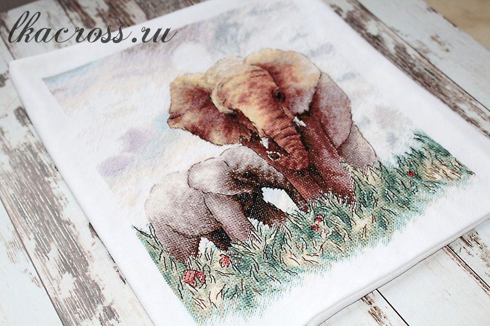 Схема для вышивки крестом Слоны. Отшив.