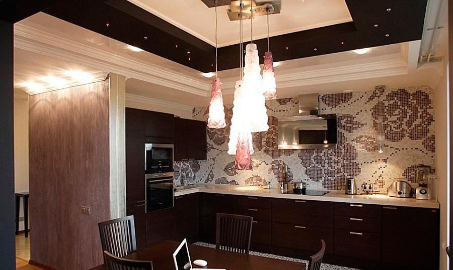 натяжной потолок в кухне в стиле арт-деко