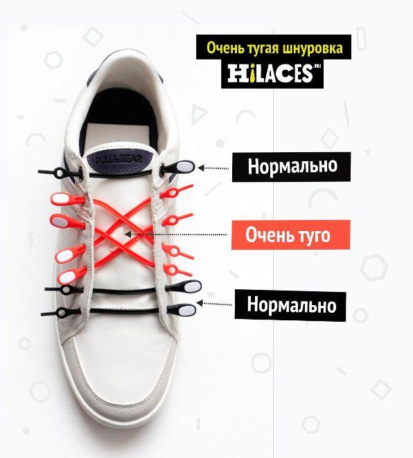 Очень тугая шнуровка силиконовых шнурков Hilaces