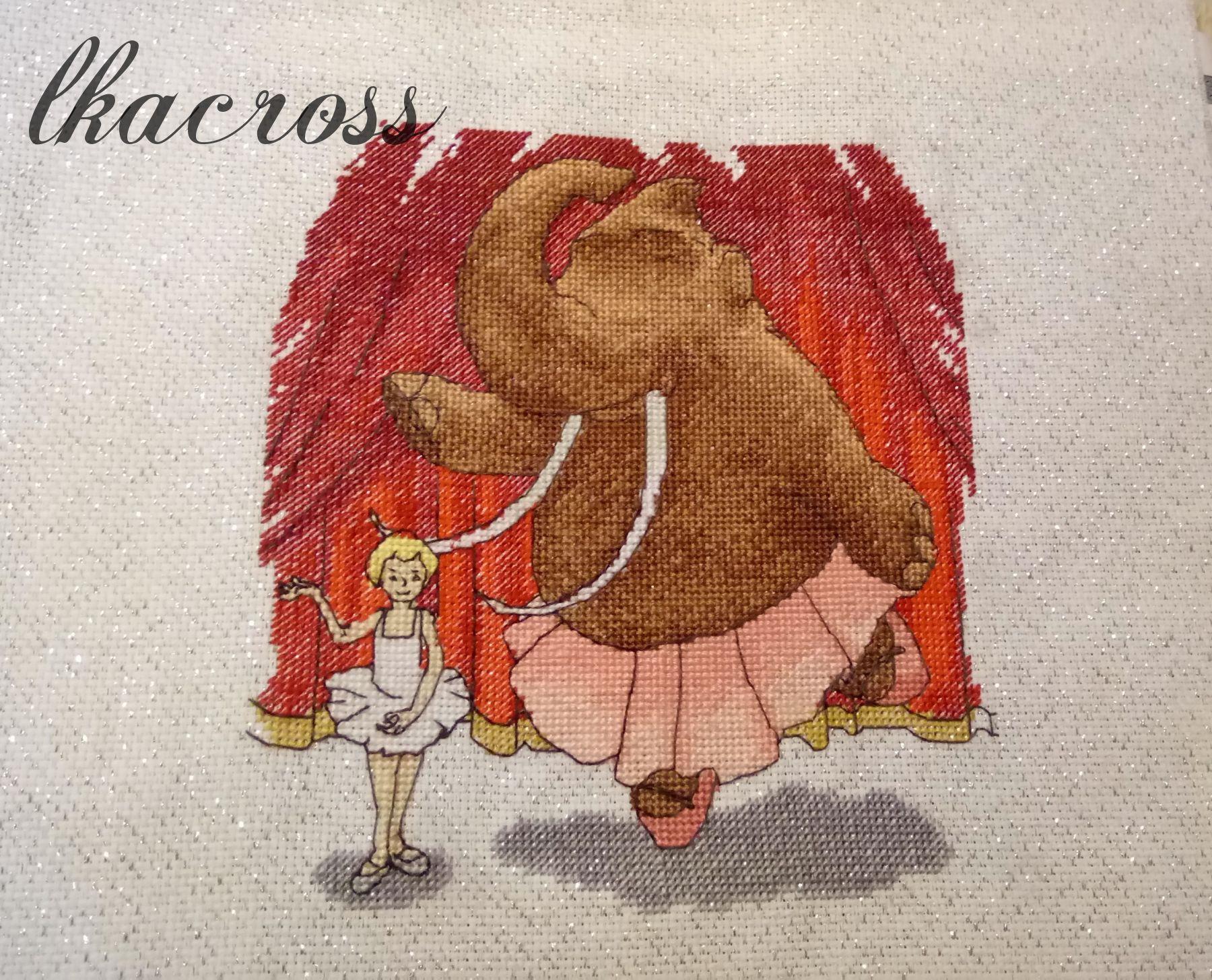 Схема для вышивки крестом Домашний любимец на балете. Отшив.