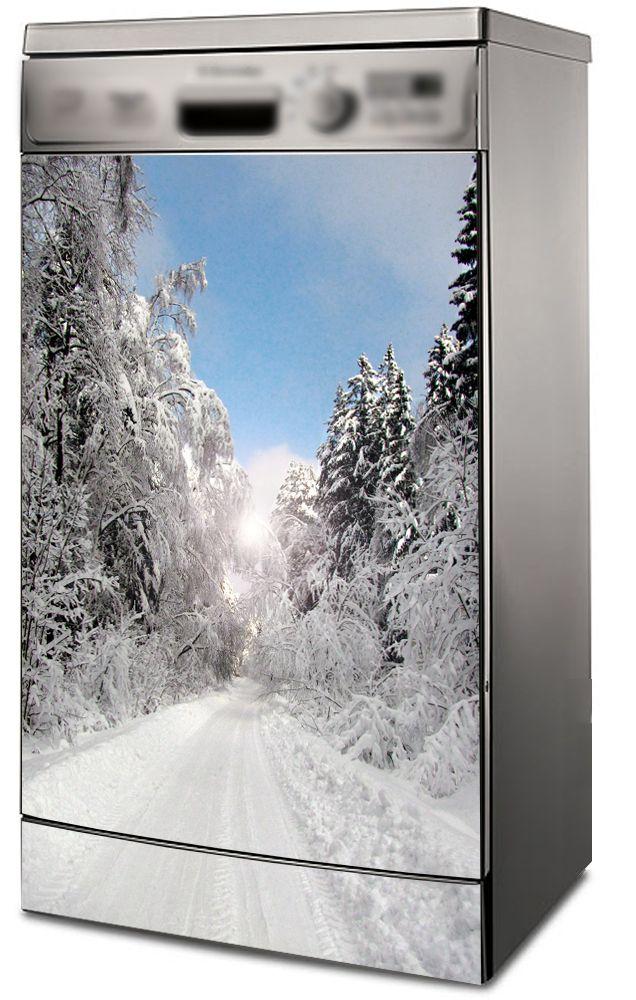 Наклейка на посудомоечную машину  - Зимний парк