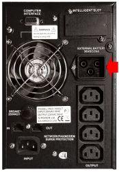 ИБП семейства LT имеют разъемы для подключения внешних батарейных комлектов