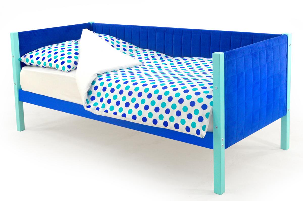 Кровать-тахта мягкая мятно-синий