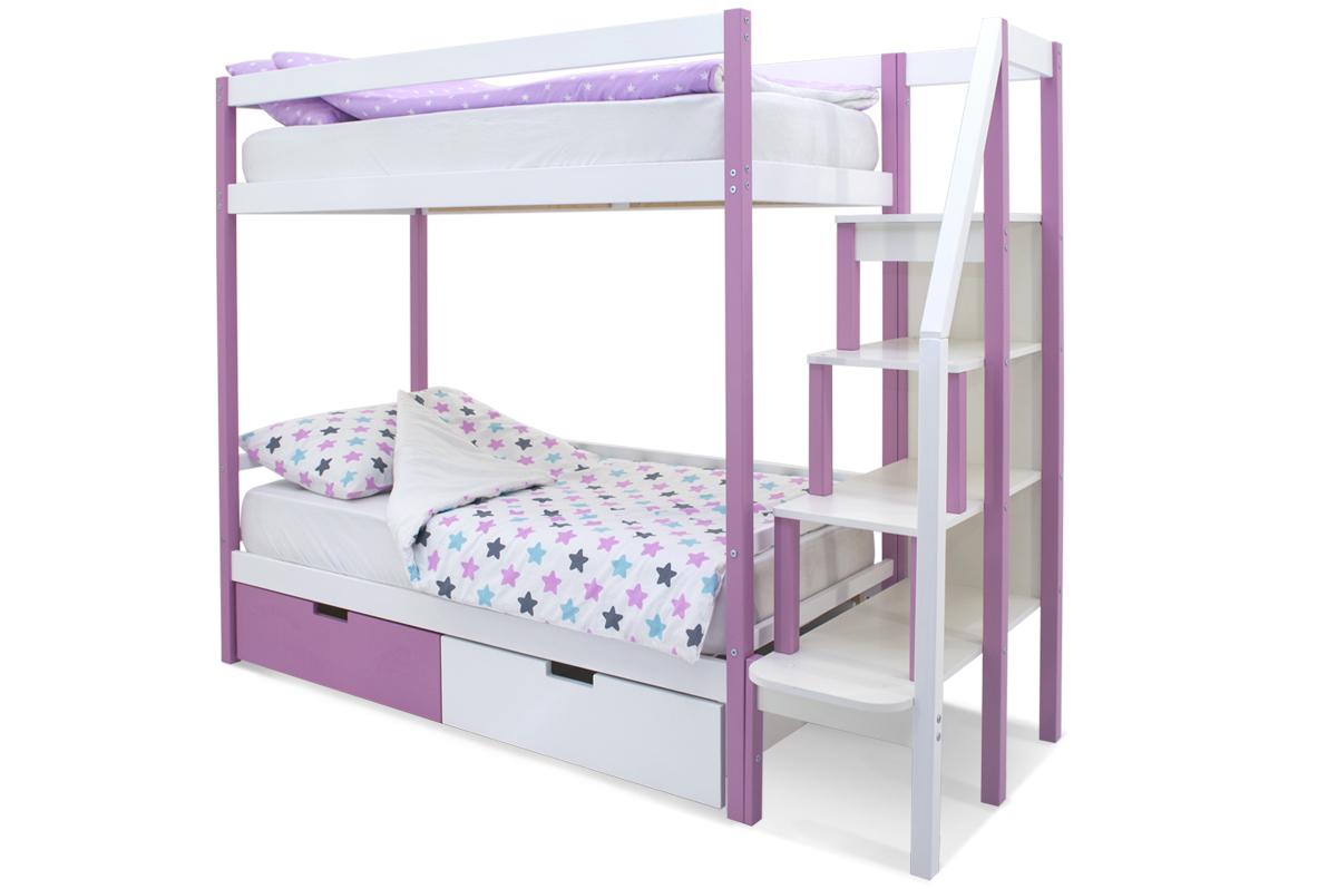 двухъярусная кровать детская лаванда-белый