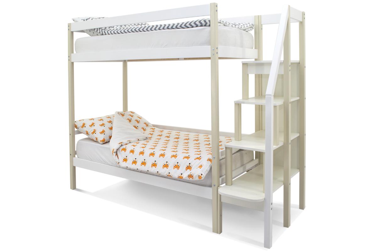 двухъярусная кровать детская бежево-белый
