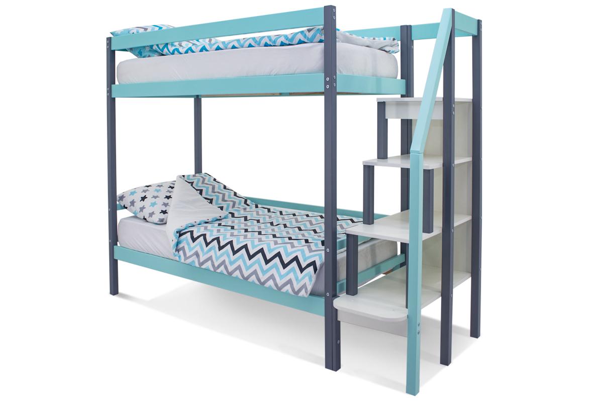 двухъярусная кровать детская графит-мятный