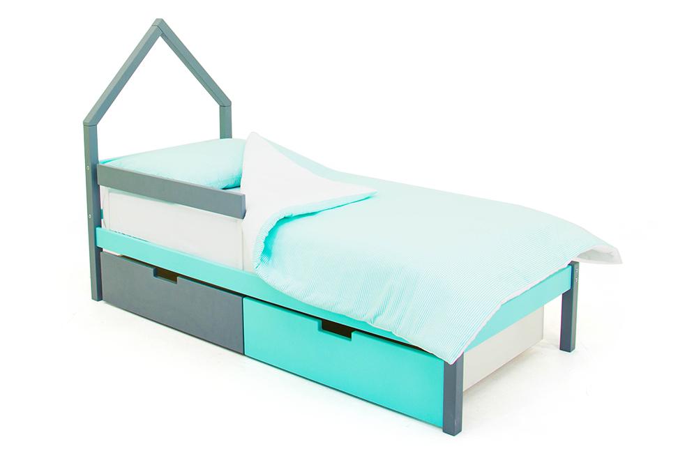 детская кровать графит-мятный