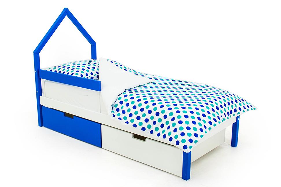 детская кровать синий-белый