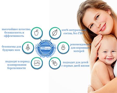 Биодобавки для здоровья мамы и малыша компании Сантегра